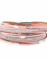 cheap -multi-layer leather wrap bracelet for women, handmade bohemian cuff wrap clasp bangle bracelet with magnetic buckle jewelry