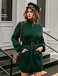 cheap -Women's Sweater Jumper Dress Short Mini Dress - Long Sleeve Solid Color Pocket Patchwork Winter Casual Loose 2020 Green S M L