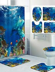 cheap -Underwater World Pattern PrintingBathroom Shower Curtain Leisure Toilet Four-Piece Design