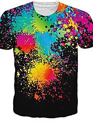 cheap -mens unisex paint splatter short sleeve t-shirt graphic tees l