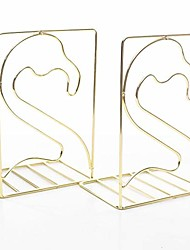 cheap -creative minimalist style bookends metal adjustable books holder stand book rack desk bookend - flamingo, gold
