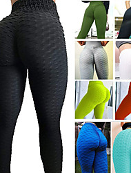 cheap -Women's High Waist Running Tights Leggings Athletic Bottoms Butt Lift Spandex Winter Yoga Gym Workout Running Training Exercise Tummy Control Breathable Quick Dry Sport Solid Colored Light Blue White
