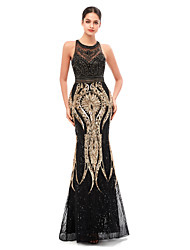 cheap -Mermaid / Trumpet Celebrity Style Beautiful Back Engagement Formal Evening Dress Jewel Neck Sleeveless Floor Length Tulle Sequined with Beading Sequin 2020