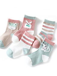 cheap -5 Pairs Kids Toddler Girls' Underwear & Socks Dusty Rose Dusty Blue Color Block Patchwork Blushing Pink
