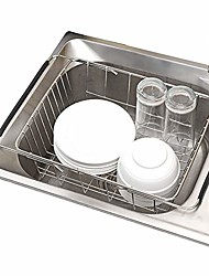 """cheap -over sink dish drainer drying rack, stainless steel dish drying basket, adjustable over sink or in sink dishes holder, 12.99""""(l) x 9.84""""(w) x 4.53""""""""(h) kitchen storage dish racks (metal)"""