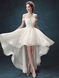 cheap -Ball Gown Wedding Dresses Off Shoulder Asymmetrical Lace Tulle Cap Sleeve Romantic Elegant with Crystals Appliques 2020