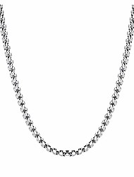 cheap -3mm stainless steel box rolo cable wheat chain necklace silver for men women 24""