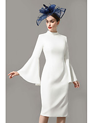 cheap -Sheath / Column Mother of the Bride Dress Wrap Included High Neck Knee Length Jersey 3/4 Length Sleeve with Crystals 2020 / Petal Sleeve