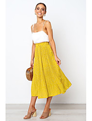 cheap -Women's Casual / Daily Basic Skirts Polka Dot Peplum Chiffon White Black Red / Loose