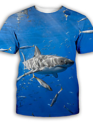 cheap -Men's Graphic T shirt 3D Print Print Short Sleeve Party Tops Exaggerated Round Neck Blue