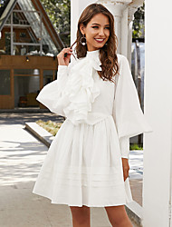 cheap -A-Line Elegant Vintage Party Wear Wedding Guest Valentine's Day Dress High Neck Long Sleeve Short / Mini Cotton with Ruffles 2021 / Puff Balloon Sleeve