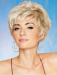 cheap -Human Hair Blend Wig Short Natural Straight Pixie Cut Blonde Party Best Quality Hot Sale Capless Women's Blonde 8 inch