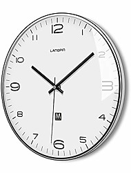 "cheap -silent & non ticking modern quartz wall clock 14""- battery operated digital quiet sweep office decor clocks,chrome coated metal frame glass cover 906-1"