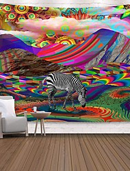 cheap -Wall Tapestry Art Decor Blanket Curtain Picnic Tablecloth Hanging Home Bedroom Living Room Dorm Decoration Polyester Print Colorful Mountain Zebra Abstract