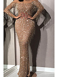 cheap -Women's Sheath Dress Midi Dress - Long Sleeve Solid Color Sequins Tassel Fringe Zipper Summer Off Shoulder Hot Sexy Party Slim 2020 Gold S M L XL XXL