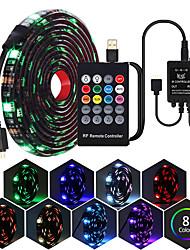 cheap -LED Light Strips 1m 5050 RGB Tiktok Lights USB Led Strip Set With 20Key RF Remote Control Led Music Controller USB For TV Background Lamp Ribbon Led Tape
