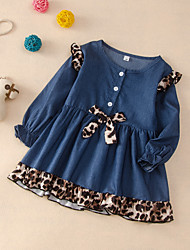 cheap -Kids Toddler Girls' Flower Blue Leopard Print Long Sleeve Knee-length Dress Blue