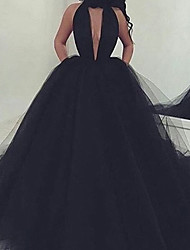 cheap -Ball Gown Minimalist Sexy Quinceanera Formal Evening Dress Sweetheart Neckline Sleeveless Court Train Tulle with Sleek 2020