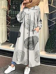 cheap -Women's Swing Dress Maxi long Dress - Long Sleeve Print Print Fall Casual Vintage Cotton Loose 2020 White Black Red Yellow Khaki Brown Gray S M L XL XXL 3XL 4XL 5XL