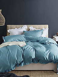cheap -Blue 3-Piece Duvet Cover Set Hotel Bedding Sets Comforter Cover with Soft Lightweight Microfiber and Lotus Leaf Edge Decoration(Include 1 Duvet Cover and 1or 2 Pillowcases)