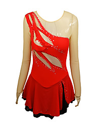cheap -Figure Skating Dress Women's Girls' Ice Skating Dress Red Spandex High Elasticity Training Competition Skating Wear Handmade Crystal / Rhinestone Long Sleeve Ice Skating Winter Sports Figure Skating