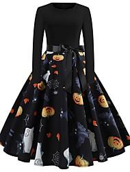 cheap -Halloween Women's A-Line Dress Knee Length Dress - Long Sleeve Pumpkin Skeleton Print Bow Patchwork Print Spring Fall Vintage Slim 2020 White Black Yellow S M L XL XXL