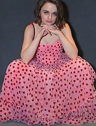 cheap -Women's Strap Dress Maxi long Dress - Sleeveless Print Ruffle Ruched Mesh Summer Strapless Vintage Party Slim 2020 Blushing Pink S M L XL