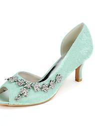 cheap -Women's Wedding Shoes Kitten Heel Peep Toe Classic Wedding Party & Evening Lace Rhinestone Floral White Light Purple Green