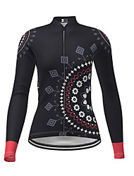 cheap -21Grams Women's Long Sleeve Cycling Jersey Polyester Black Novelty Floral Botanical Bike Jersey Top Mountain Bike MTB Road Bike Cycling Breathable Quick Dry Reflective Strips Sports Clothing Apparel