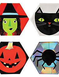 cheap -Halloween Party Halloween 10 Inch Disposable Paper Plates Party Tableware 8 Pcs for Halloween Party Witch Zombie Pumpkin Spider