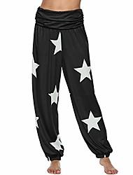 cheap -leggings for women, yoga harem pants star print trousers jogger workout running sports capri black