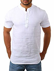 cheap -men's linen henley shirt - casual pullover t shirt button up summer beach tops -4 colors white