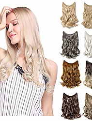 cheap -invisible secret hidden wire clip in hair extensions 20-24 inches long straight wavy curly synthetic hairpieces miracle translucent fish line 20 inch wavy dark brown