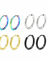 cheap -surgical stainless steel thin hoop earrings 6mm/8mm/10mm small huggie hoop earrings for women and men (b: diameter 8mm (4 color),4 pairs)
