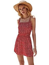 cheap -Women's Basic Red Romper Polka Dot Bow