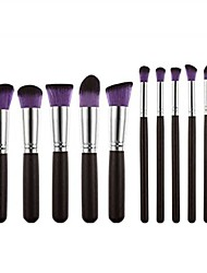 cheap -10 pcs makeup brush set cosmetics foundation blending blush face powder brush makeup brush kit & #40;purple& #41;
