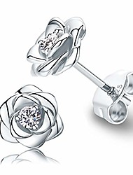 cheap -white gold plated sterling silver rose flower earring studs, hypoallergenic & nickel free earrings for women