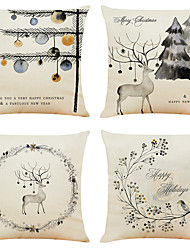 cheap -Set of 4 Ink Christmas Linen Square Decorative Throw Pillow Cases Sofa Cushion Covers 18x18