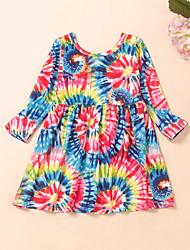 cheap -Kids Toddler Girls' Flower Tie Dye Rainbow Print Long Sleeve Knee-length Dress Rainbow
