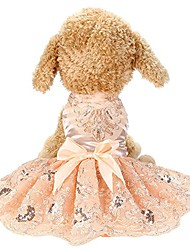 cheap -pet dress lace princess wedding dresses for dog puppy elegant cute clothes soft silk apparels (l, pink)