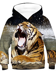 cheap -Kids Boys' Active Basic Tiger 3D Animal Long Sleeve Hoodie & Sweatshirt Brown