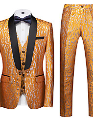 cheap -Tuxedos Tailored Fit Shawl Collar Single Breasted One-button Polyester Textured / Waves / Cheetah Print