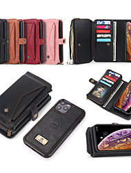 cheap -Phone Case For Apple Full Body Case Leather Wallet Card iPhone 12 Pro Max 11 SE 2020 X XR XS Max 8 7 6 Wallet Card Holder Shockproof Solid Color PU Leather TPU