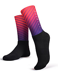 cheap -Compression Socks Athletic Sports Socks Cycling Socks Bike / Cycling Windproof Cycling Quick Dry 1 Pair Stripes Gradient Polyster Lycra Cotton Black and Blue Bule / Black Black / Gray M L / Stretchy