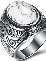 cheap -retro vintage stainless steel turquoise onyx ring (white, 13)