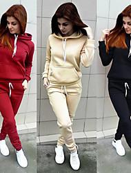cheap -Women's Sweatpants Sweatsuit Hoodie 2 Piece Set Cropped hoodie / Crop hoodie Loose Fit Minimalist Drawstring Hoodie Solid Color Sport Athleisure Sweatshirt and Pants Outfits Long Sleeve Warm Soft