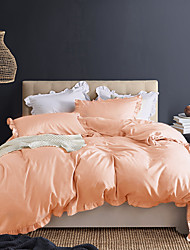 cheap -Light Pink 3-Piece Duvet Cover Set Hotel Bedding Sets Comforter Cover with Soft Lightweight Microfiber and Lotus Leaf Edge Decoration(Include 1 Duvet Cover and 1or 2 Pillowcases)