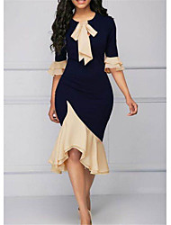 cheap -Women's Sheath Dress Knee Length Dress - Short Sleeve Solid Color Ruffle Patchwork Spring Casual Sexy Slim 2020 Navy Blue S M L