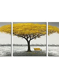 "cheap -winpeak hand painted yellow tree modern oil painting landscape canvas wall art abstract picture home decoration contemporary artwork framed ready to hang (48"" w x 24"" h (12""x24"" x2pcs, 24""x24"" x1pc))"