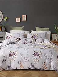 cheap -Purple Floral Print Botanical 3 Pieces Bedding Set Duvet Cover Set Modern Comforter Cover Ultra Soft Hypoallergenic Microfiber and Easy Care(Include 1 Duvet Cover and 1 or2 shams)